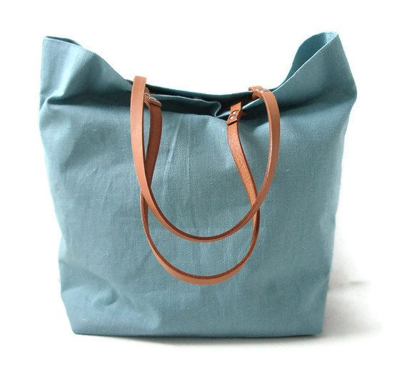 IndependentReign. Linen Tote Bag - Mineral Blue with Leather Handles.