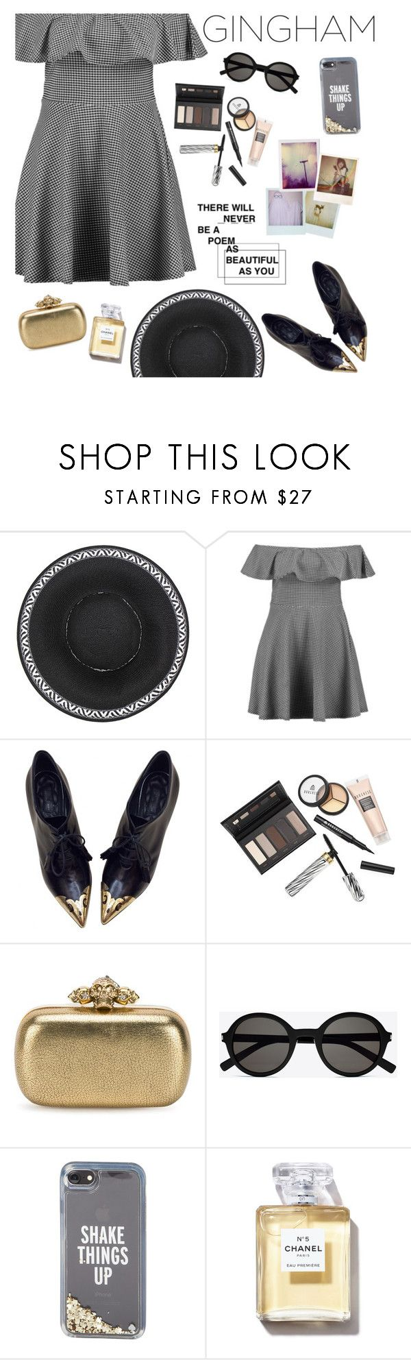 """""""Gingham Dress"""" by hardcore-alc ❤ liked on Polyvore featuring Boohoo, CÉLINE, Borghese, Alexander McQueen, Yves Saint Laurent, Kate Spade, Polaroid and gingham"""