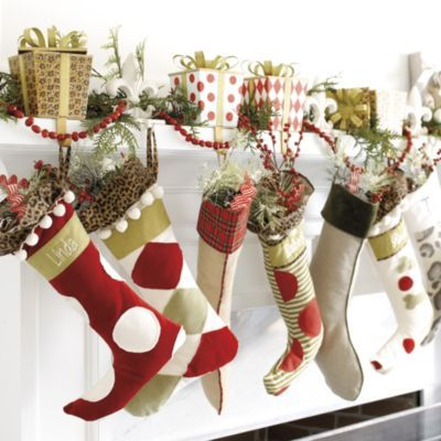 gift box stocking holders ballard designs great idea for our mantle next year - Stocking Hangers For Mantle