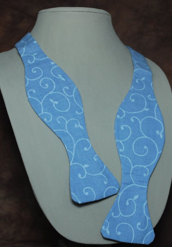 Periwinkle Vines bow tie by AbandonedWarehouse on Etsy