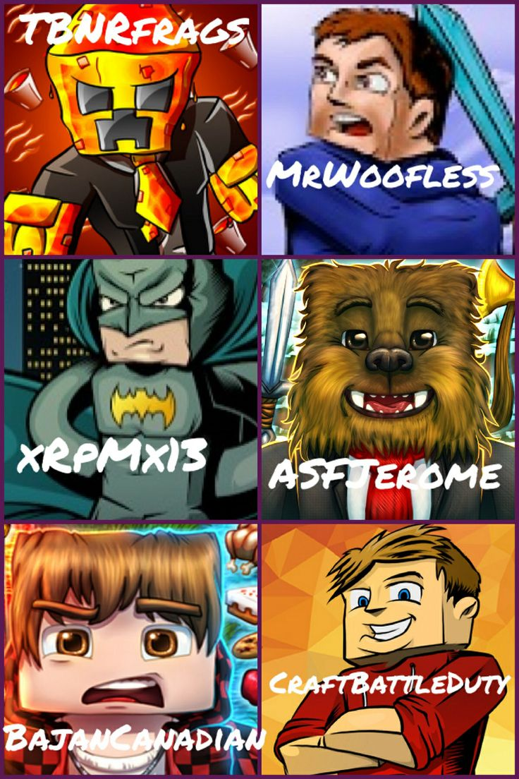 Minecraft youtubers just a few of the ones I'm obsessed with! Other than inthelittlewood so sad! I couldn't fit him in! :( well the ones we have: TBNRfrags/Preston, woofless/Rob, xRpMx13/Ryan, ASFJerome/Jerome, BajanCanadian/Mitch, CraftBattleDuty/Lachlan! By: Ash E aka Ashnickie408