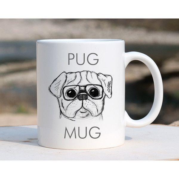 Pug Mug Pug Dog Mug Coffee Mug Mug Pug Gift Ceramic Mug Dog Gift Funny... ($15) ❤ liked on Polyvore featuring home, kitchen & dining, drinkware, drink & barware, home & living, mugs, silver, dog mug, white ceramic mug and wedding mugs