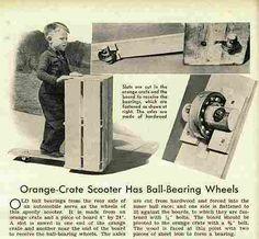 trottinette artisanale de 1939, planche, cageot et roulement à billes