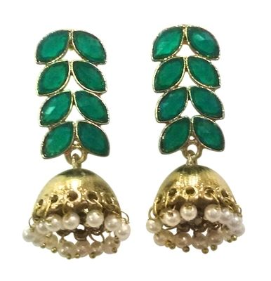 Indian Look Fancy Jhumki With Stone Earrings on Shimply.com