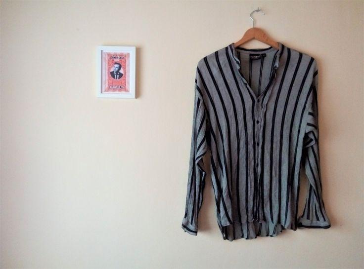 Camisa Vintage Gris Rayas Negras I Talla M I Tela Arrugada I Cuello Mandarin I Camisa Hutspah I Escote Redondo I Made in USA I Grunge de TropicalaffaireES en Etsy