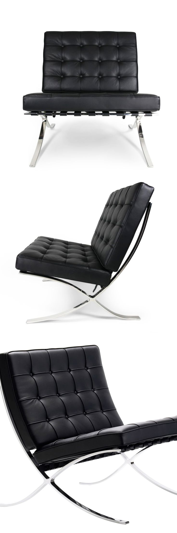 Nothing says Bauhaus more than this luxurious leather chair. Upholstered with 100% full-grain aniline leather from Italy and perched atop stainless steel legs, this chair is the ultimate in elegant style.