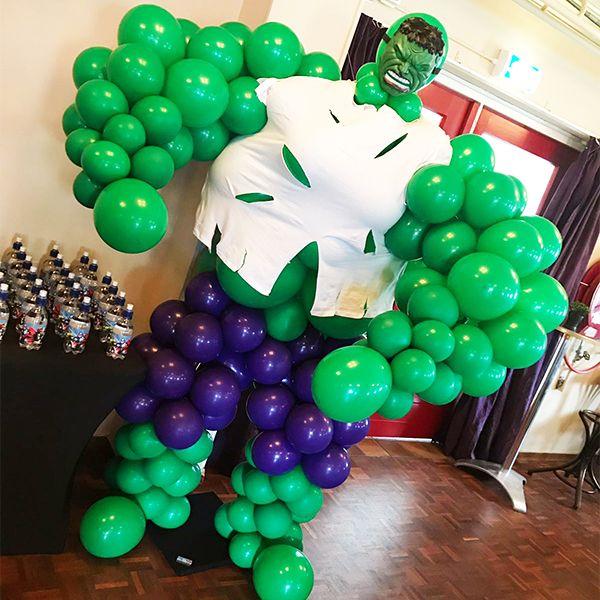 Hulk Ballondecoratie Voor Een Kinderfeestje Ballondecoraties Kinderfeestje Hulk