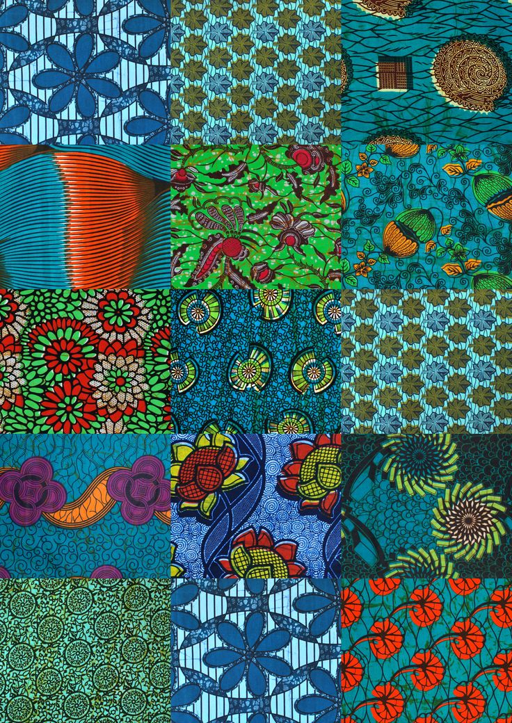 Quilting kit aqua colors African Print Fabric, Kitenge