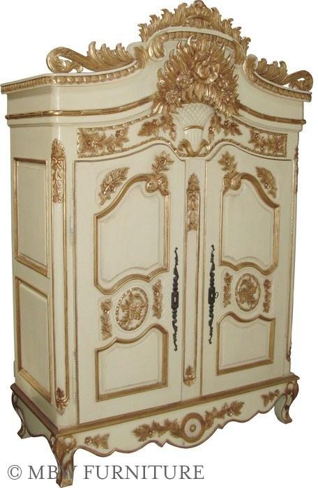 Custom Made Cream/Gold 2 Door French Wedding Armoire Wardrobe
