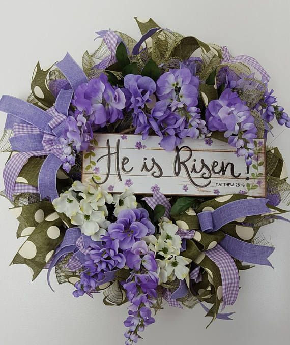 Check out this item in my Etsy shop https://www.etsy.com/listing/583869964/beautiful-he-is-risen-meshburlap-wreath