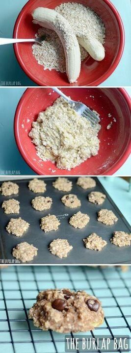 2 large old bananas 1 cup of  oats (quick or regular! if you use regular, we'd suggest chopping them a little so everything holds together better) Mix those two together. Then add in what sounds yummy to you! (or nothing!) We love: -a handful of chocolate chips -crushed walnut pieces -cinnamon -raisins http://www.theburlapbag.com/2012/07/2-ingredient-cookies-plus-the-mix-ins-of-your-choice/