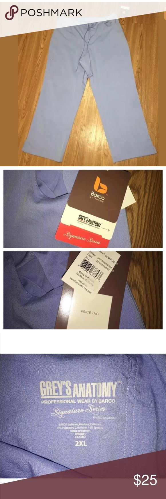 """NWT Greys Anatomy 2XL XXL Ceil Blue scrub pants New with tags Greys Anatomy scrub pants in a 2XL. 5 pocket drawstring pant in Ceil blue heather. Classic style with elastic and drawstring waist. Laying flat unstretched measurements: waistband: 20 1/2"""", front rise: 13"""", inseam: 31"""". Grey's Anatomy Pants"""