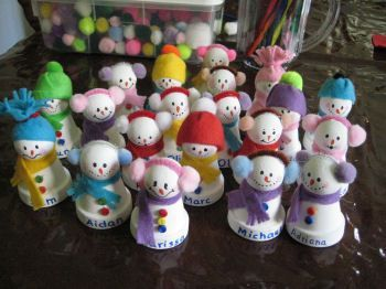 Clay pot snow peeps - make nice place holders, just paint the names along the bottom rim