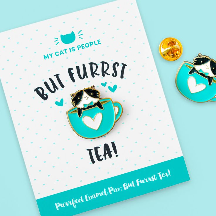 This tuxedo cat is all dressed up and ready for an afternoon cuppa tea! Whether you like your tea black or sweetened with milk or sugar, any cat purrson can attest that the purrfect cup comes with a dash of cat hair!  Wear your heart on your sleeve and this cup of purrfection on your lapel...or collar, or sweater, or bag! Keep catffeinated with our matching But Furrst Coffee pin! --> https://www.etsy.com/listing/279054004/but-furrst-coffee-purrfect-pin?ref=sho...