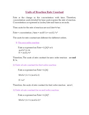 Units of Reaction Rate Constant - Quick Review Chemistry Facts from Download Sam's Teacher Resources on TeachersNotebook.com (2 pages) #science #chemistry #highschool #school #teachers #teaching #education #testprep #MCAT