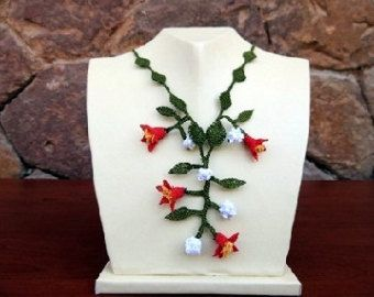 Pink Green Yellow Flowers NecklaceStatement NecklaceFloral