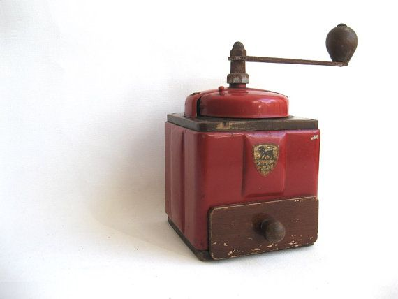 Coffee Grinder Peugeot Freres Antique French Mill Red by Lunartics