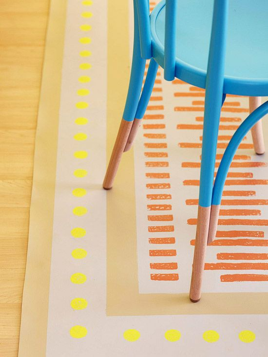Painted Rug and chair >> What a fun way to colorize boring items!