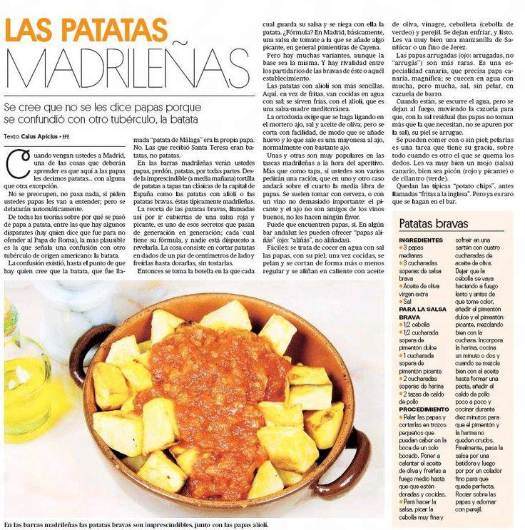 PAPAS BRAVAS  madrileñas.- Papas o patatas