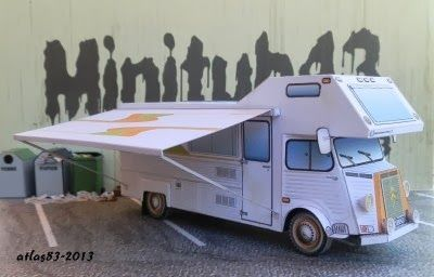 """Citroen HY Camping Version Paper Models - by Camille / Atlas 86 - via Le Forum En Papier - == -  Two cool paper models of the iconic French vehicle citroen HY, here in Camping version. You will find two vehicles: the Red Camping, an original by Camille, and a """"restored"""" version made under the original, by Atlas 86. Camille and Atlas 86 are French designers and share their creations at Le Forum en Papier."""