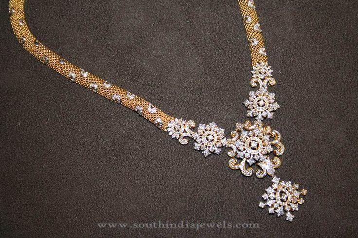 Latest Diamond Haram Designs, Diamond Long Necklace Designs