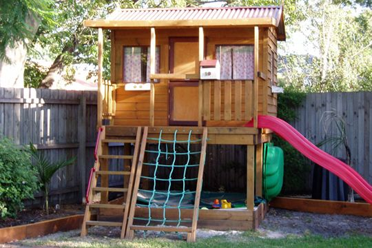 Homestead Timber Cubby House. This is our classically styled cubby reminiscent of homes from the outback! Perfect for the kids and perfect for your backyard! The 1500mm Elevation Kit turns your cubby house into a playground where the kids will never get bored! Visit our website for pricing and full details.