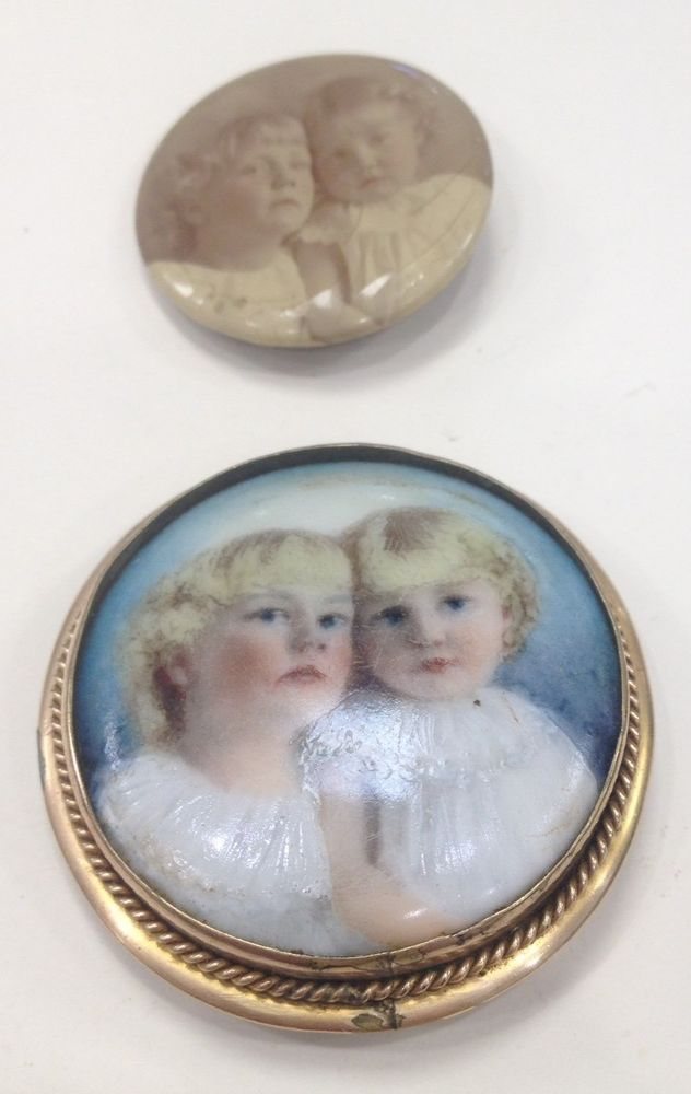 Victorian Hand Painted Ceramic Child Brooch & Pin Back ~ Free US Shipping  | eBay