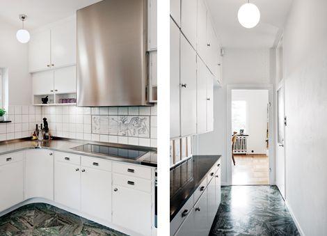 Byggfabriken – Platsbyggt kök och serveringsgång i original, villa Södra Ängby