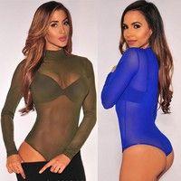 Wish | New Sexy Women's Ladies Long Sleeve Stretch Bodysuit Blouse Body Top T-shirt