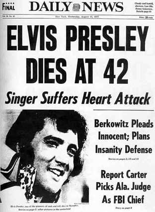 Elvis Presley died at Graceland on 16th August 1977 at the age of 42
