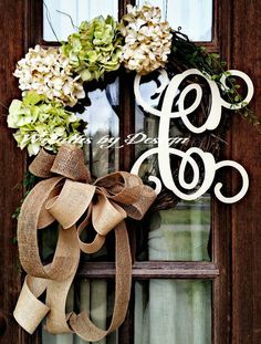 Front door wreath, hydrangea wreath, burlap wreath, grapevine, french country, burlap bow on Etsy, $59.00 https://www.etsy.com/listing/225599095/vine-initial-grapevine-burlap-door