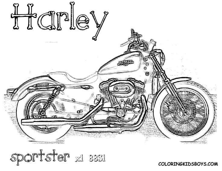 Harley davidson coloring pages to download and print for
