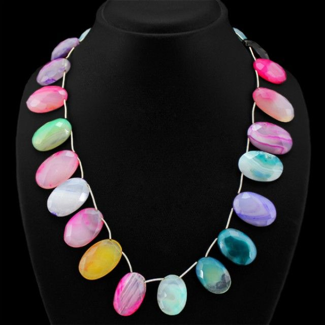 Natural Multicolor Onyx Faceted Beads Necklace FASHIONABLE BEAD NECKLACE