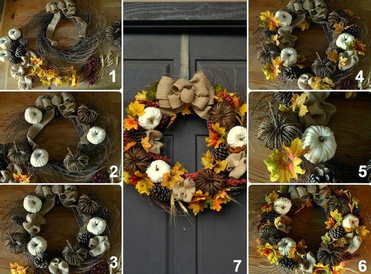 idées DIY pour créer une couronne d'automne artisanale faite de potirons blancs et ruban en jute