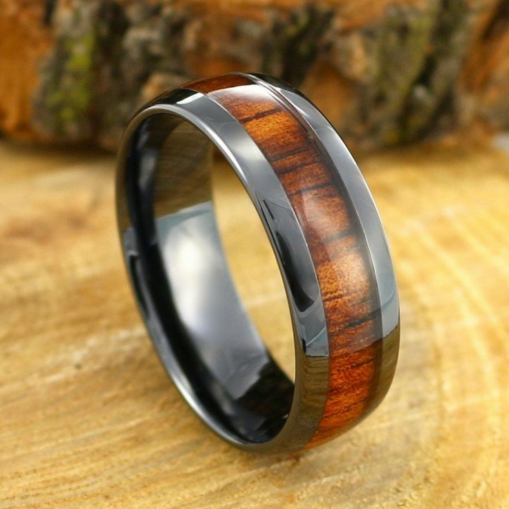 8mm wood wedding ring crafted out of black high tech ceramic. Makes a suitable mens wood wedding band. Crafted with real koa wood & waterproof. Rings under $150