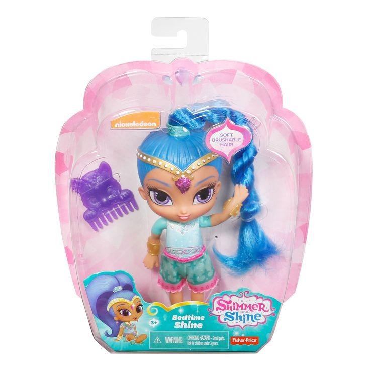 Speel de dromen uit Shimmer & Shine na met deze bedtijd pop van Shine. Shine heeft haar pyjama al aan, kam haar langeblauwe haren met de paarse kam en vertrek samen naar dromenland.