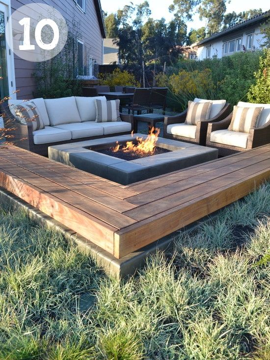 By combining traditional soft patio furniture with divider platforms, you can obtain a fire pit table set with a lot of seating in case you invite a lot of people to your party.