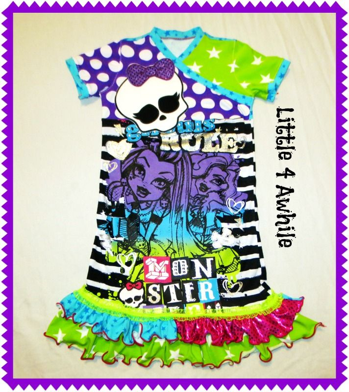 Monster High Appliqued Glam Upcycle Dress by Little 4 Awhile www.facebook.com/groups/little4awhile