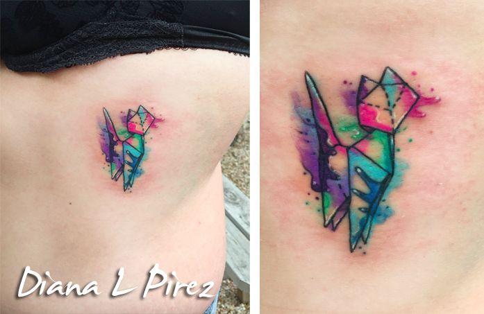 Origami watercolor cat tattoo :D  #watercolor #tattoo #origami #origamitattoo…