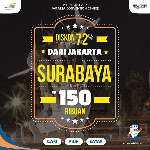 Dapatkan tiket KA Eksekutif berbagai tujuan dengan diskon sampai dengan 72%! Dari Jakarta ke: - Surabaya mulai dari Rp150 ribuan - Yogyakarta mulai dari Rp125 ribuan - Bandung mulai dari Rp30 ribuan dan berbagai kota-kota lainnya. ---- Tiket tersebut hanya bisa didapatkan di KAI Travel Fair yang akan dilaksanakan di JCC Balai Sidang Hall B pada 29-30 Juli 2017 untuk keberangkatan KA tanggal 7 Agustus - 31 Oktober 2017. ---- HTM: Rp10.000 ---- Cari - Pilih - Bayar | #ayonaikkereta