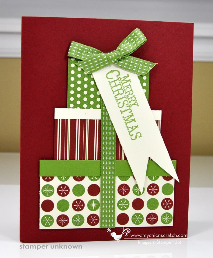 Cute Christmas card idea--can use up some small scraps of paper.
