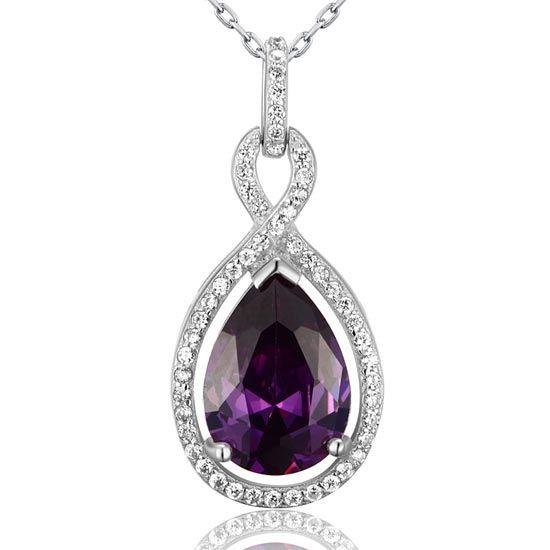 Colier din argint Grazia cu cristale Cristal Light Purple Sapphire: Cubic Zirconias (Simulated Sapphire) Cristale mici: cristale Swarovski austriece