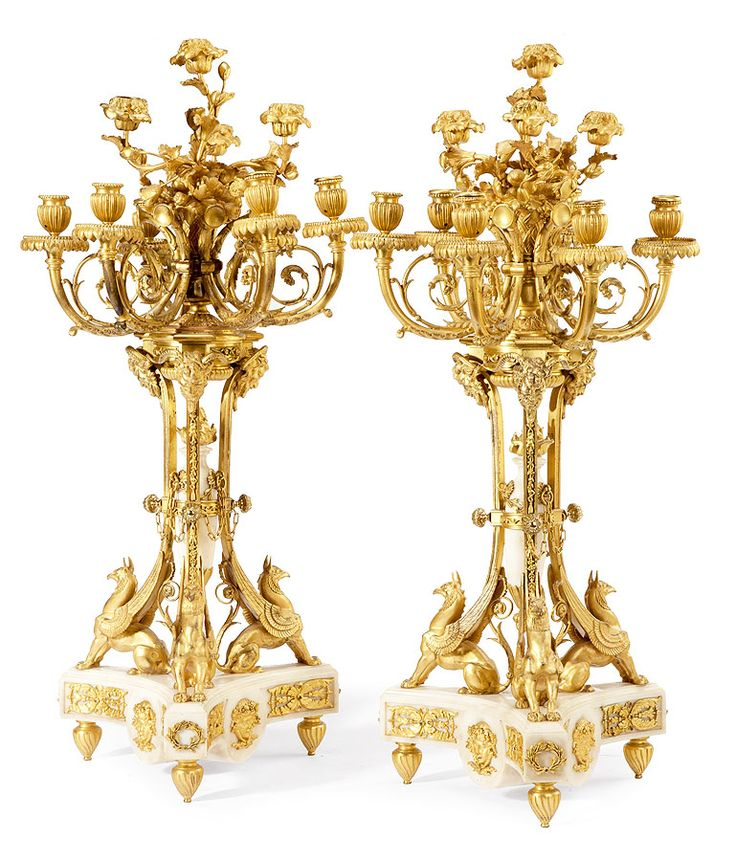 A Very Finely Chased Pair of French 19th Century Louis XVI Style Gilt-Bronze and…