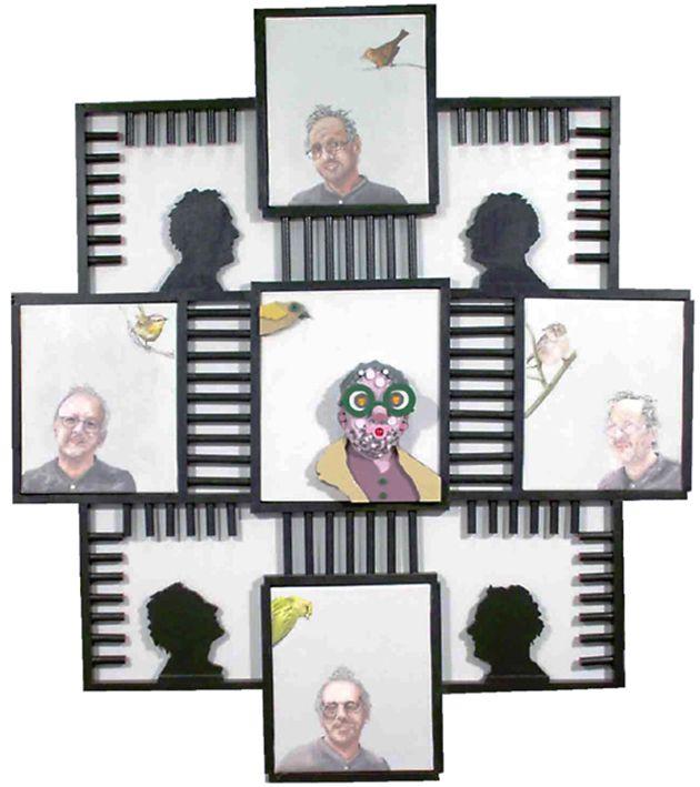 """""""Autoritratto"""" acrilici su tela e materiali vari, cm 122x108x8, 2005"""
