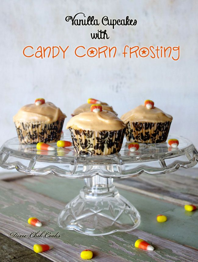 Vanilla Cupcakes with Candy Corn FrostingCupcakes Cupcakeideas, Corn Frostings, Vanilla Cupcakes, Cupcakes Sweets, Cupcakes Lovers, Candy Corn, Candies Corn, Frostings Cupcakes, Cupcakerecipes Food