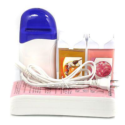 Kit de calentador de cera depilatoria Cable con papel de cera 100pc + 100g Roll On Cera Miel