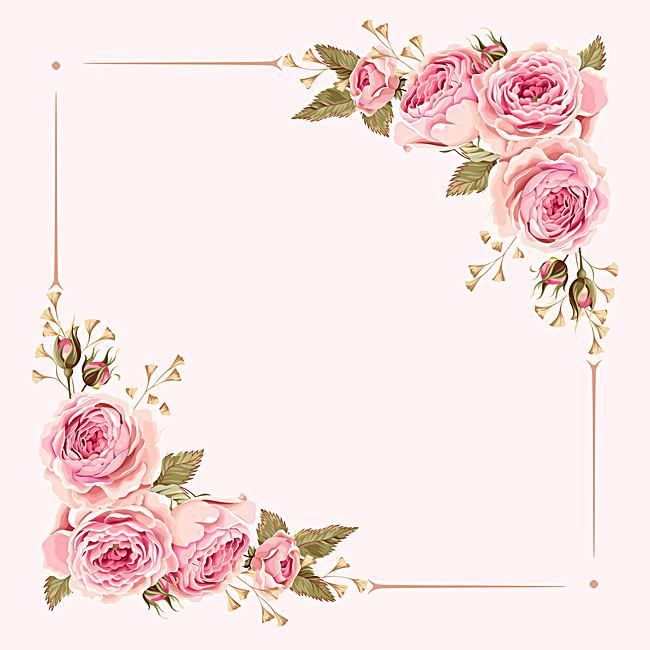 watercolor pink wedding flowers border background em 2019
