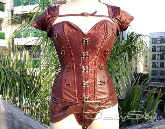 I listed these corsets side by side so everyone could be astonished at the Price Comparison! This one Costs Only $39.98  Brown Steampunk Corset with Jacket Steel Boned by JackyStyle