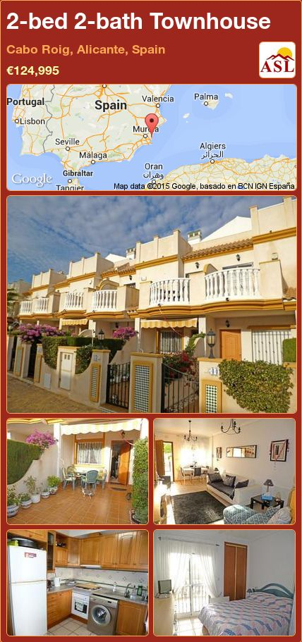2-bed 2-bath Townhouse in Cabo Roig, Alicante, Spain ►€124,995 #PropertyForSaleInSpain