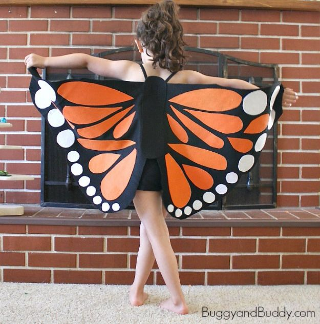 Best DIY Halloween Costume Ideas - Felt Monarch Butterfly Wings - Do It Yourself Costumes for Women, Men, Teens, Adults and Couples. Fun, Easy, Clever, Cheap and Creative Costumes That Will Win The Contest http://diyjoy.com/best-diy-halloween-costumes